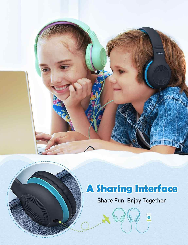 Mpow CH6S แบบมีสายหูฟังเด็กพร้อมไมโครโฟน MAX 85dB วัสดุเกรดอาหาร Over-EAR หูฟังสำหรับเด็กสำหรับ iPad kindle โทรศัพท์