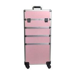 Multi-layer Bar Make-Up Case Aluminium Grote Volume Munsu Manicure Toolbox Omnidirectionele Wielen Aluminium Legering Bar Doos