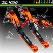 LOGOTIPO Z1000 Dobrável CNC Motocicleta Freio Embraiagem para Kawasaki 2007 2008 2009 2010 2011 2012 2015 2016