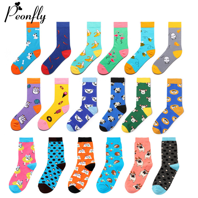 PEONFLY 1 Pair Cartoon Socks Women Men Cotton Funny Crew Socks Cute Animal Cat Dog Socks Novelty Gift Happy Socks For Spring
