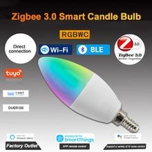 Tuya zigbee 3.0 inteligente vela lâmpada rgbcw 5w pode ser escurecido e12/e14 led temporizador controle de voz funciona com alexa google casa