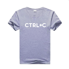 women's T-shirt Ctrl+C Letter Printed Short Sleeve casual Harajuku cotton tees summer street funny plus size round neck Tshirts