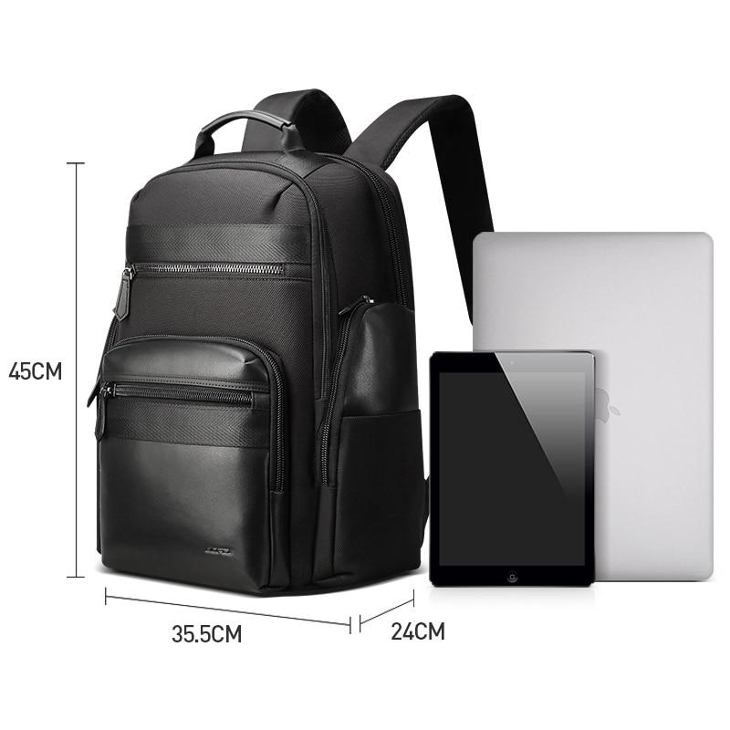 Водонепроницаемый черный нейлоновый кожаный мужской рюкзак большой емкости роскошный рюкзак с отдельной сумкой для ноутбука путешествие на выходные Back Pack - 6