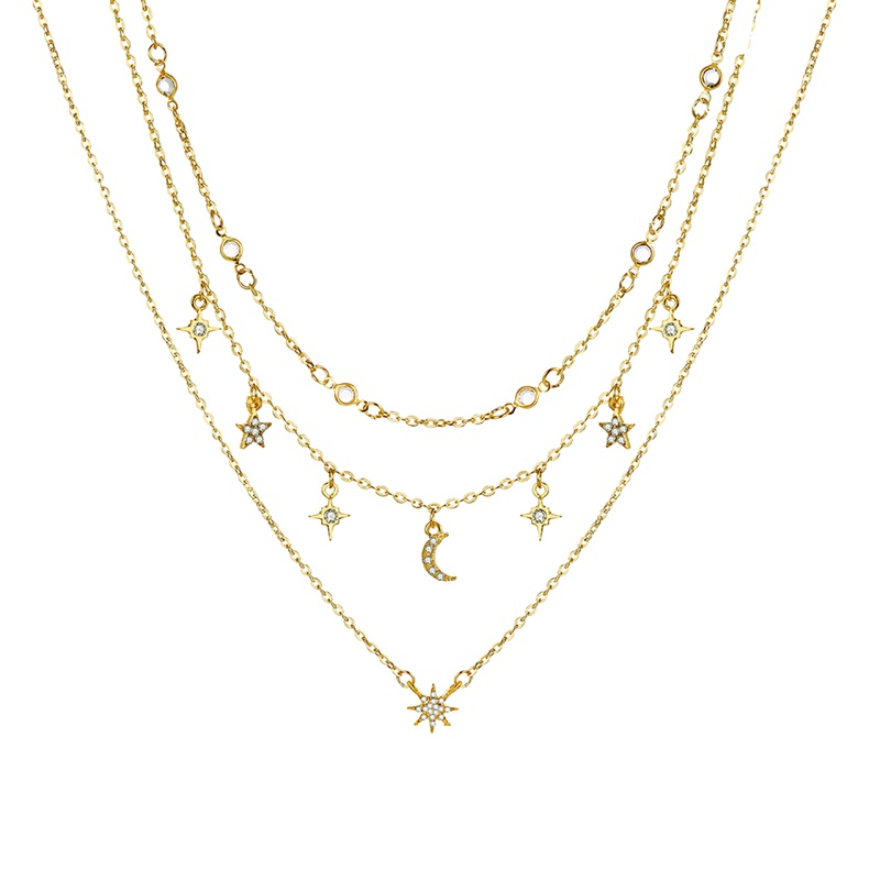 Bohemian Multilayer Pendant Necklace for Women Fashion, Geometric Charm Chain Necklace Wholesale Jewelry 5