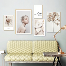 Get more info on the Clear Crystal Canvas Prints WALL Art Painting Abstract Girl Leaf Tree Nordic Wall Poster Black Letter Love Wall Picture Unframed