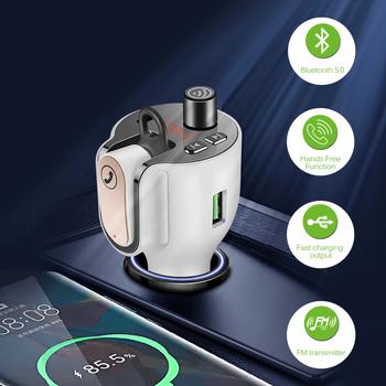 Konrisa Bluetooth 5 0 Modulator FM ładowarka samochodowa USB zestaw słuchawkowy z nadajnikiem FM bezprzewodowa ochrona prywatności Aux Audio szybka ładowarka nowość tanie i dobre opinie CN (pochodzenie) GY52 QC3 0 Nadajniki fm 12 v Call privacy protection 4 2 * 4 2 * 14cm 88-108 MHzFM Transmitting 0-10m