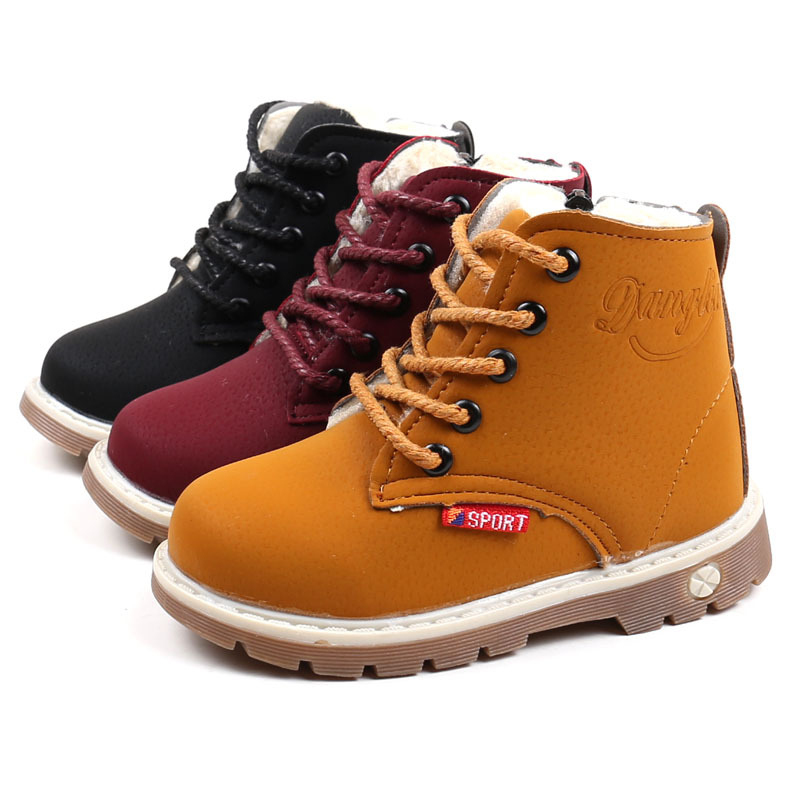 2019 Winter Children's Snow Boots Thicken Wool Boys And Girls Fur Booties British Style New Non-slip Sneakers For Kids Wine Red