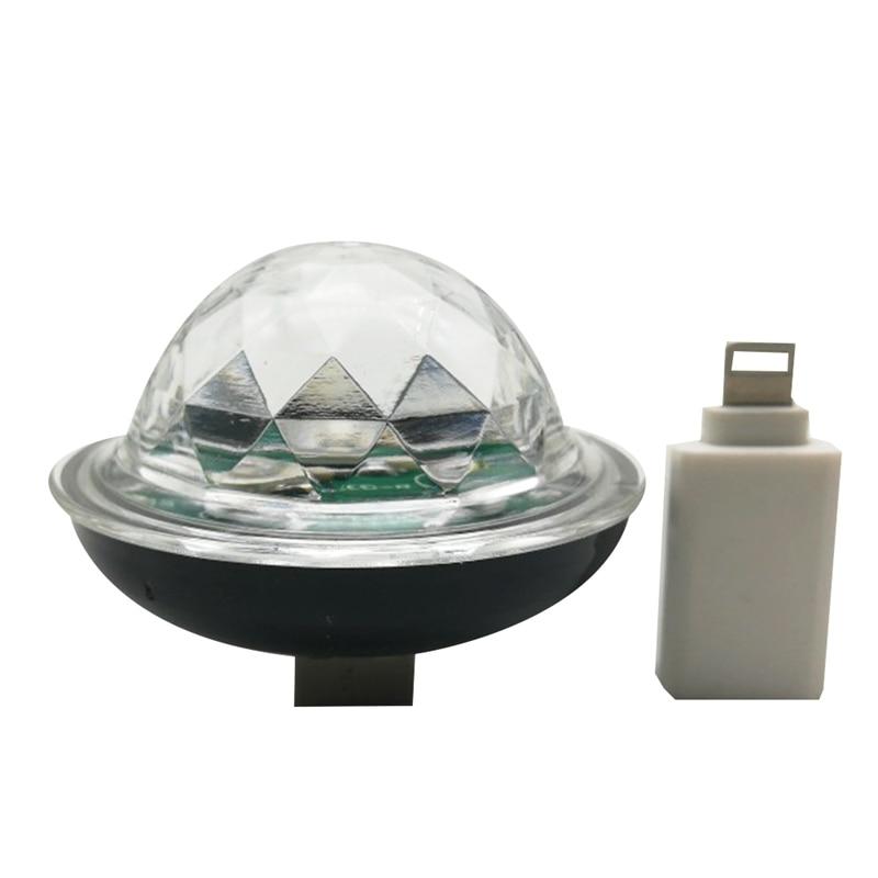 TOP Music Sensor Usb Mini Disco Stage Lighting Effect Light Dj Crystal Magic Ball Lamp Apply For Phone Pc Mobile Power,Black