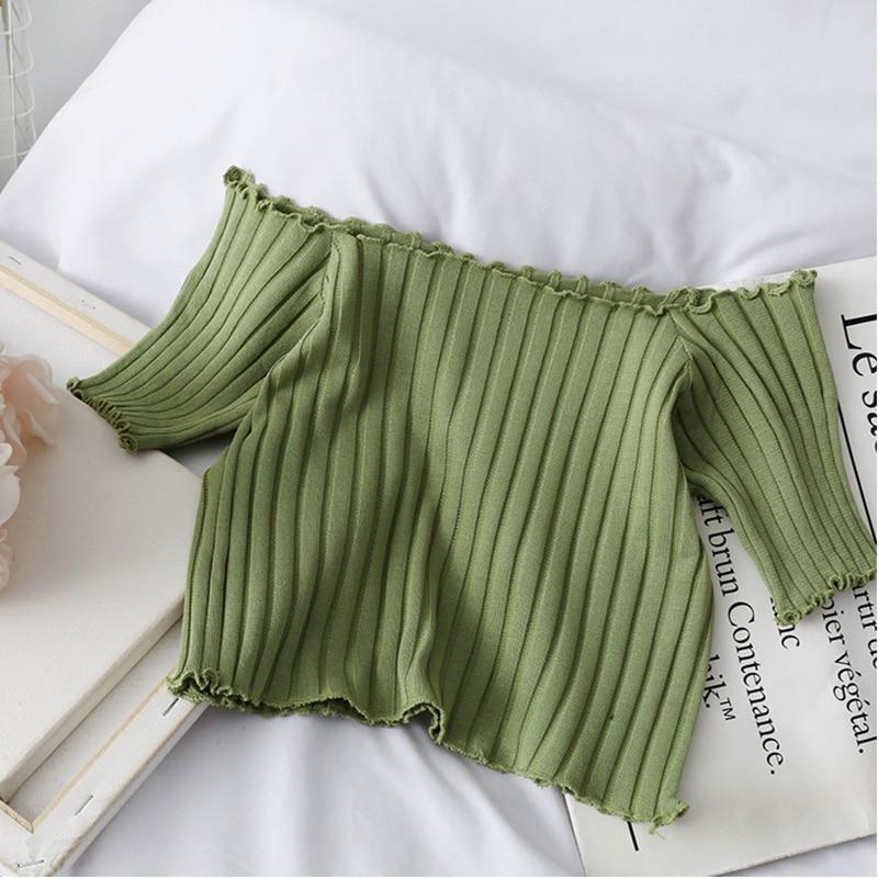 HELIAR Women T-shirts Off Shoulder Knitting Crop Tops Women Short Sleeve Stretchy Ruffles Hem T-shirts Stripes Tops For Women 5