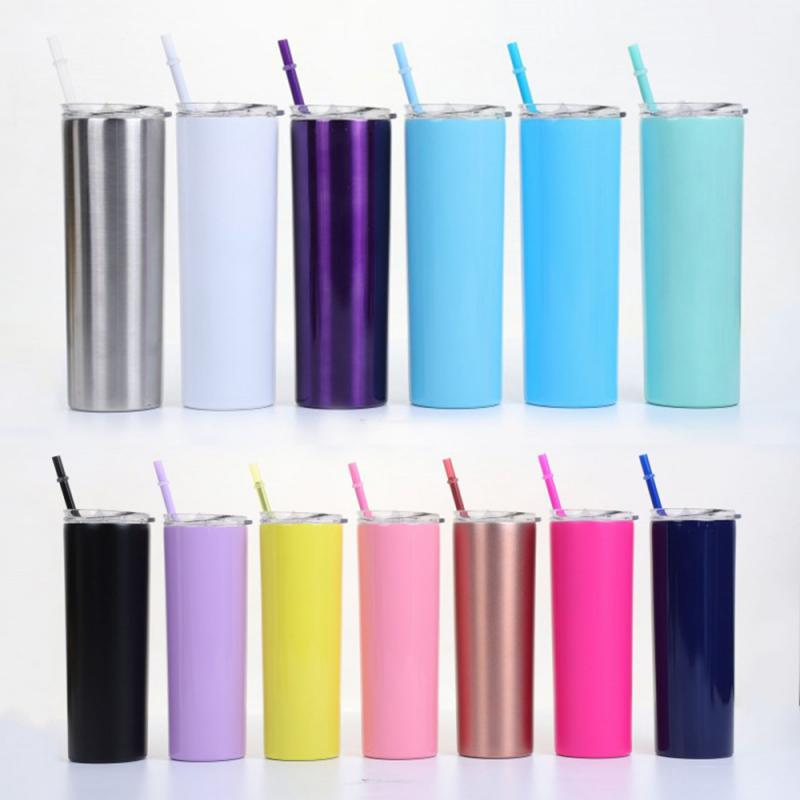 <font><b>20oz</b></font> Slim Tumblers With Lids And Straws,Stainless Steel Double Vacuum Insulated Unbreakable Tumbler Cup For Hot Or Cold Drinks image