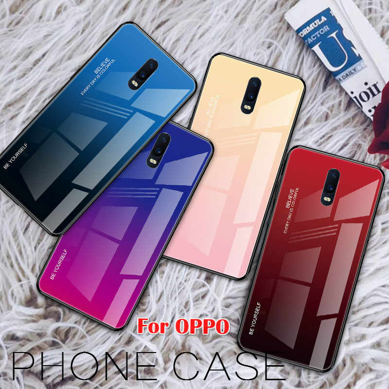 Tempered Glass Phone Case For OPPO Realme X Lite 3 Find X R17 F11 Pro R19 K3 K1 R15X Reno 10X ZOOM Hard Back Glass Cover Coques