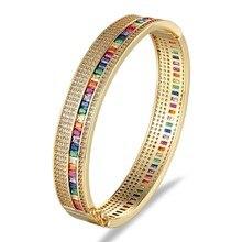 Bracelet doré en zircone, 11 Styles, manchette en cuivre, cadeau de mariage, à la mode, nouveauté, Bracelets pour femme