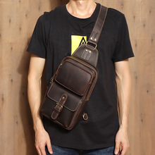MAHEU Mens Genuine Leather Chest Bag Leather Big Capacity Crossbody Bag Casual Male Riding Messenger iPad Cell Phone Sling Bag