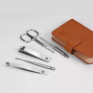 Image 5 - Huohou Manicure obcinacz do paznokci do włosów w nosie trymer przenośne podróży skóra pokrywa magnetyczna zestaw ze stali ze stalowymi ćwiekami wycinarka zestaw