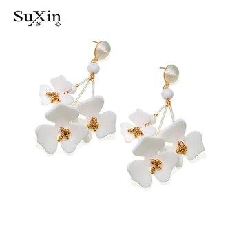 2019 nowych moda koło symulacji kwiat biały Brincos Oorbellen długi komunikat zroszony Tassel spadek kolczyki dla kobiet n biżuteria