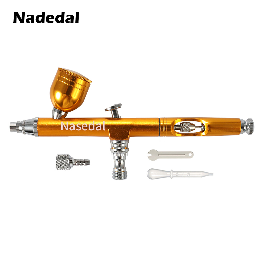 Image 3 - Airbrush Tool Dual Action Gravity Feed 0.3mm Nozzle Spray Gun Cake Decorating Brushes For Nail Manicure With Wrench Straw-in Spray Guns from Tools on