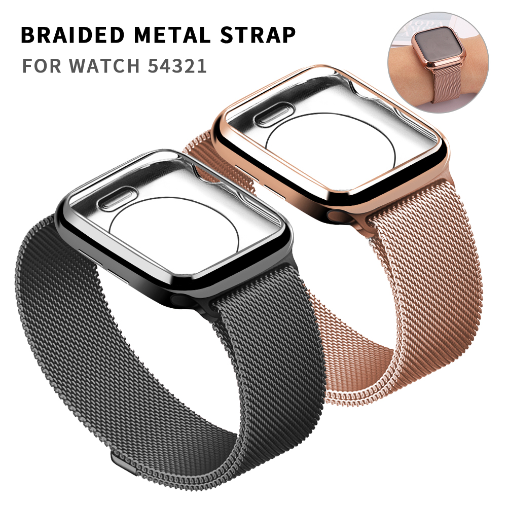 Milanese Loop Band For Apple Watch 42mm 38mm Link Bracelet Strap Magnetic Adjustable Buckle With Adapter For Iwatch Series 54321