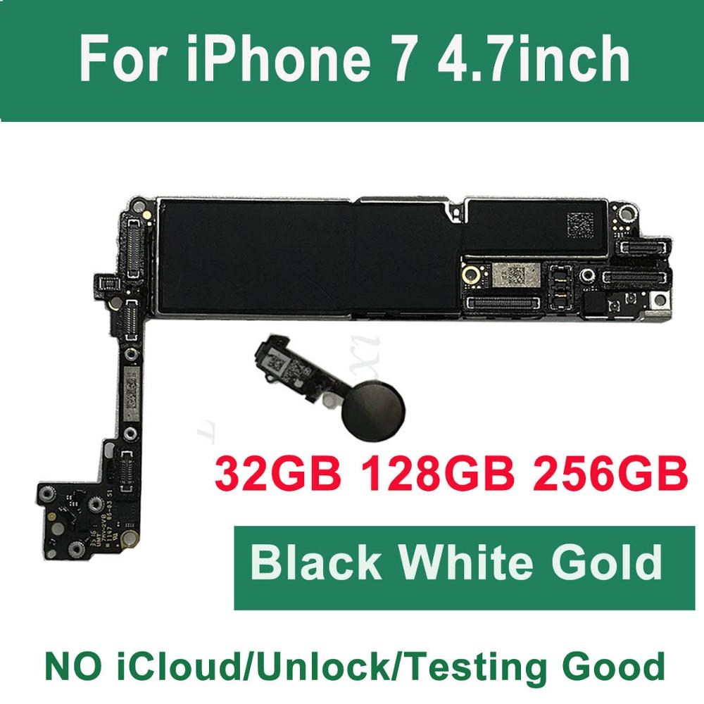 For IPhone 7 Motherboard With Touch ID Home Button,32G 128G 256G 100% Original Unlocked Logic Board Gold Black Mainboard