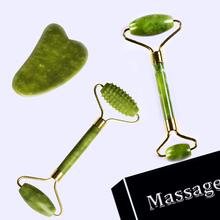 Facial Roller Guasha Massage Board Double Heads Natural Jade Stone Relaxation Slimming Beauty Neck Thin Lift Face Lift Body Skin