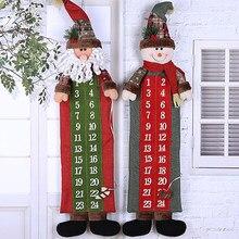 90*23cm Weihnachten Advent Kalender Santa Claus Schneemann Weihnachten Neue Jahr Countdown Hängen Ornamente Home Office Tür Dekoration