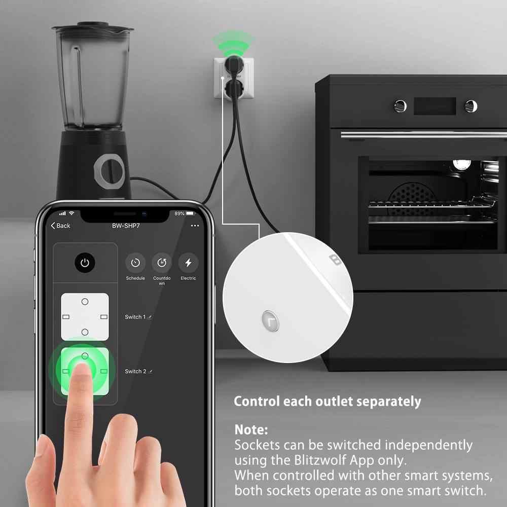 BlitzWolf BW-SHP7 3680W 16A salida Dual enchufe de la UE inteligente WIFI Socket APP Control remoto trabajo con Google asistente/Amazon Alexa
