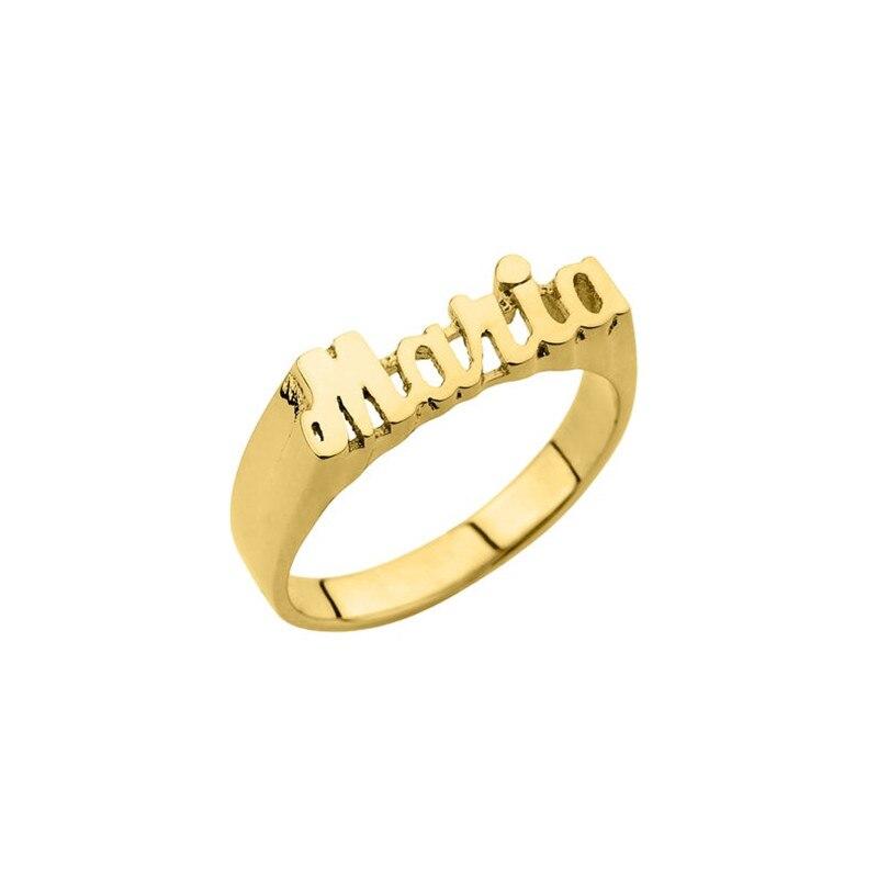 HIYONG nom personnalisé anneau fait main anneau personnalisé or en acier inoxydable anneaux de lettre pour les femmes hommes mariage demoiselle d'honneur meilleurs amis