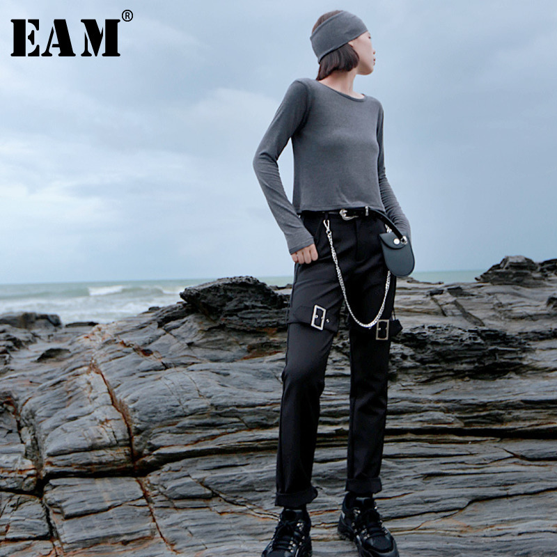 [EAM] High Waist Black Loose Long Zippper Buckle Harem Trousers New Loose Fit Pants Women Fashion Tide Spring Autumn 2019 1H115