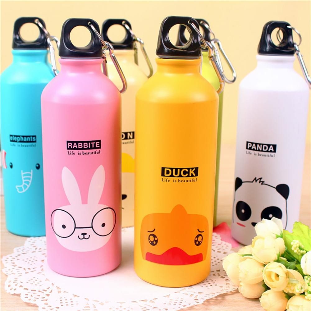 500ml Cartoon Animal Aluminum Alloy Kids Cycling Bike Water Bottle Portable Outdoor Travel Sports Camping Hiking Water Bottles