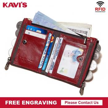KAVIS Free Engraving Cowhide Leather Women Red Wallets Female Lady Coin Purse Zipper Design Pockets Mini Soft Walet Fashion Vall image
