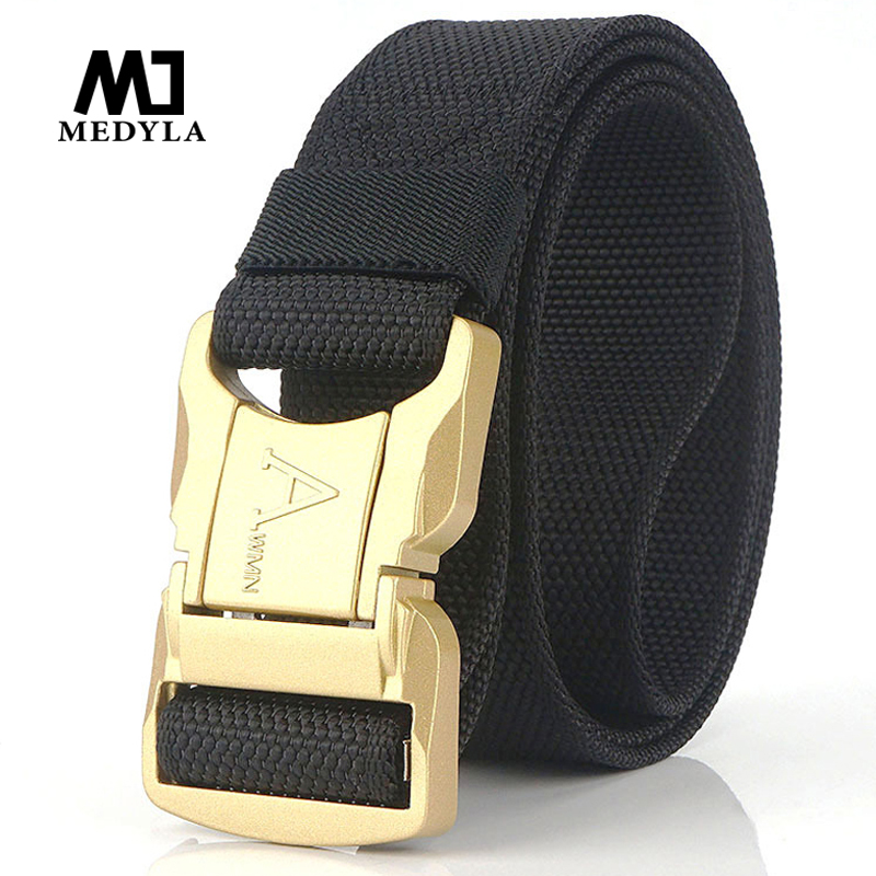 MEDYLA Men's Belt 2019 New Gold Aluminum Safety Buckle Outdoor Tactical Belt Casual Wild Men's Belt