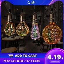 3D Led Bulb Star E27 Vintage Edison Night Light Colorful Bombillas Retro Glass Lampara Ampoule Christmas Home Decor firework RGB