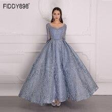 יוקרה שמלת ערב 2020 ארוך שרוול אונליין מבריק קריסטל חרוזים תחרה ערב מסיבת שמלת חלוק דה soiree NE67