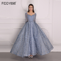 Luxury Evening Dress 2020 Long Sleeve A Line Shiny Crystal Beaded Lace Evening Party Gown Robe de Soiree NE67