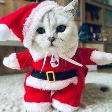 Зимние рождественские костюмы для домашних животных, забавный Санта-Клаус, одежда для маленьких кошек, собак, Новогодняя одежда для кошек, костюмы для котенка