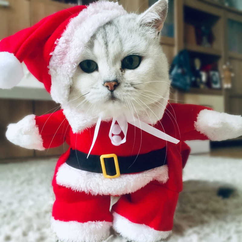 Winter Christmas Pet Cat Costumes Funny Santa Claus Clothes For Small Cats Dogs Xmas New Year Cat Clothing Kitty Kitten Outfits