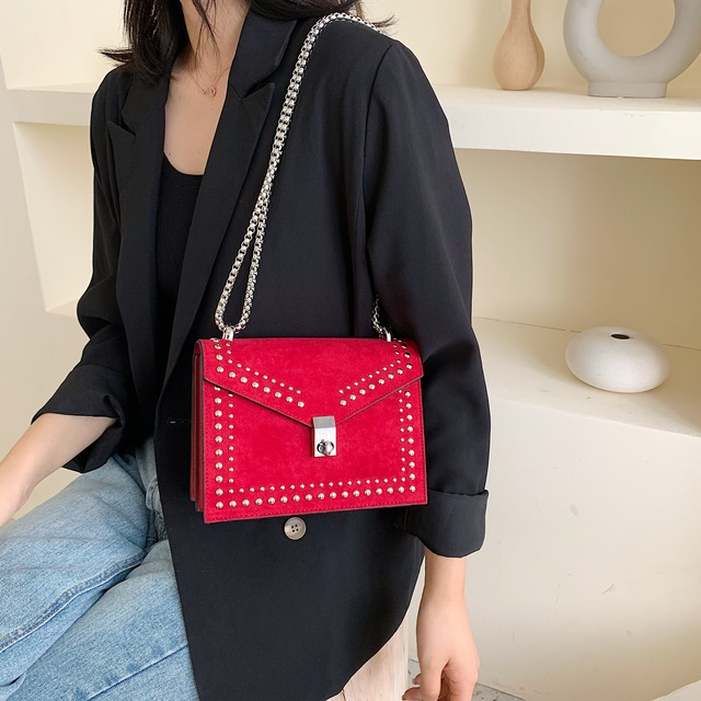 Scrub Leather Small Shoulder Messenger Bags For Women 2020 Chain Rivet Lock Crossbody Bag Female Travel Mini Bags 3
