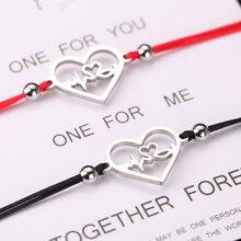 stainless steel bracelet for women men jewelry bracelet red compass bracelet love jewelry Adjust 2pcs bracelet stainless steel