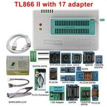 100% 오리지널 V10.22 TL866II Plus 범용 프로그래머 + 17 어댑터 고속 TL866 플래시 EPROM 프로그래머