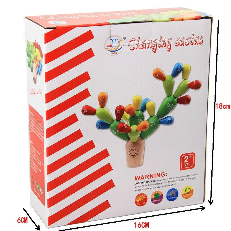 Παιδιά Montessori διδασκαλία παιδιά AIDS ξύλινη Συνέλευση ΑΛΛΑΓΗ CACTUS μπλοκ 28PCS, Μοντέλα και οικοδομικά τετράγωνα Toy παιχνίδια για παιδιά