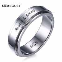 Personalized Stainless Steel Ring 6mm All Black IP Spinner Mens Women Ring In Silver Color Wedding Brands Free Engraving