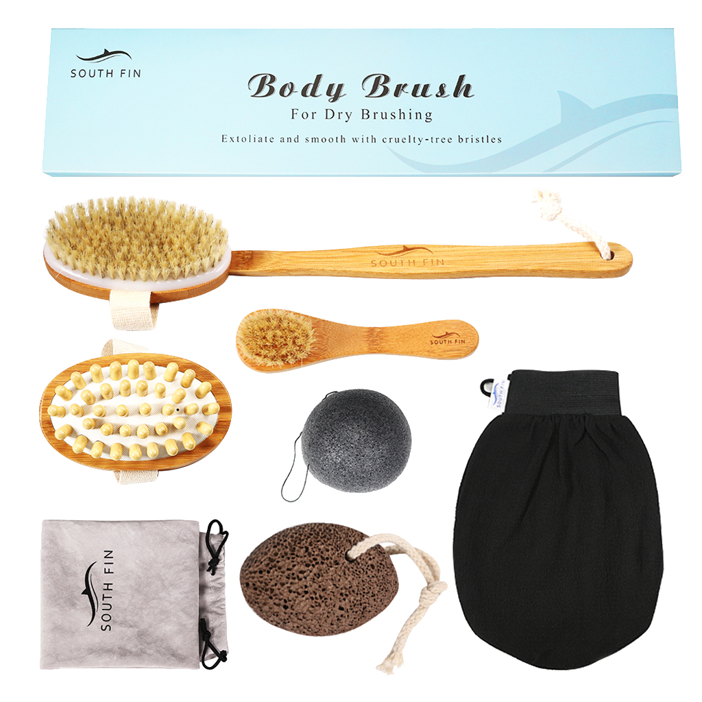 6pcs Dry Brushing Body Brush Set with Bag for Lymphatic Drainage Anti Cellulite with Scrub Gloves, Konjac Sponge, Pumice Stone