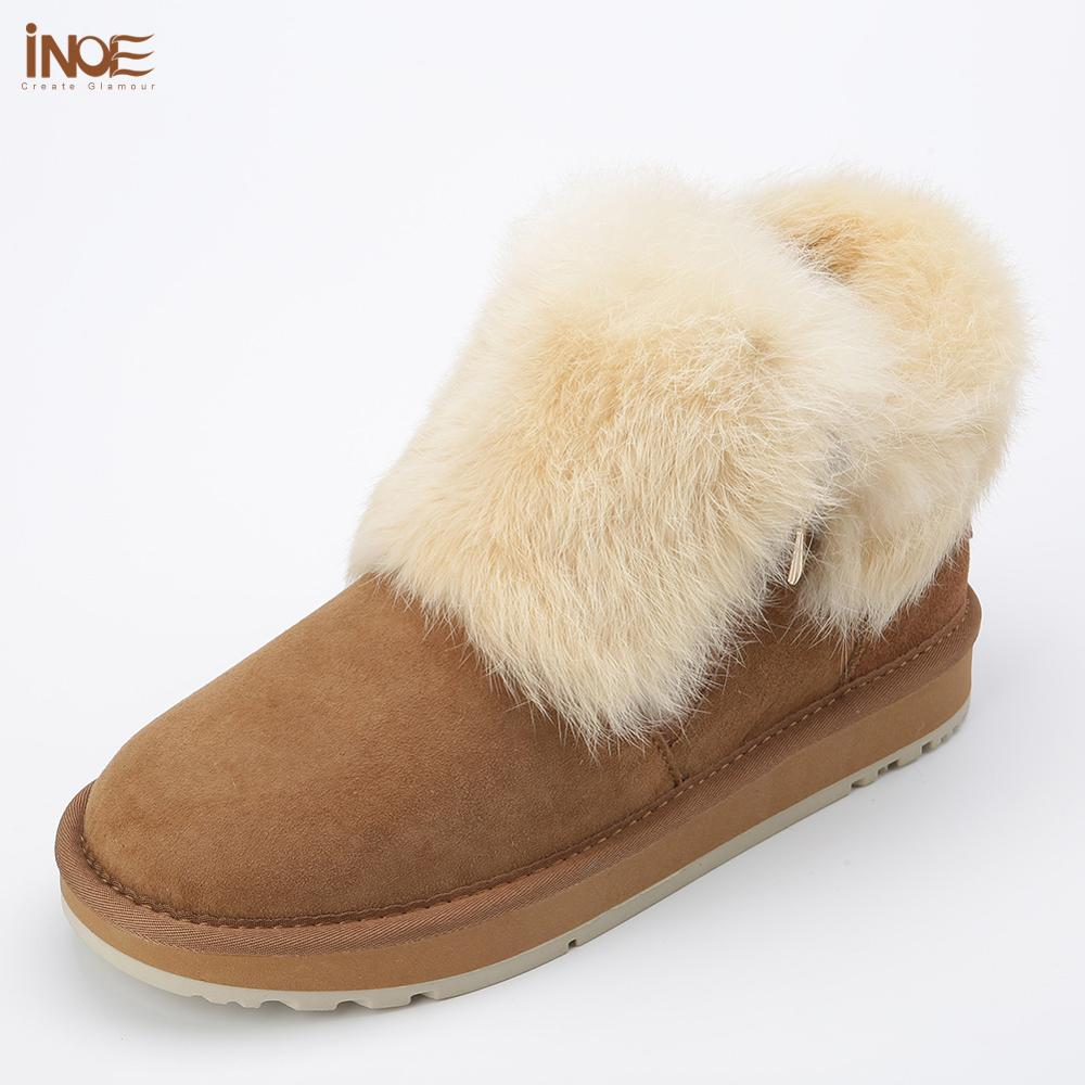 INOE fashion real sheepskin leather suede fur lined women rabbit fur winter short ankle snow boots for girls zipper winter shoes