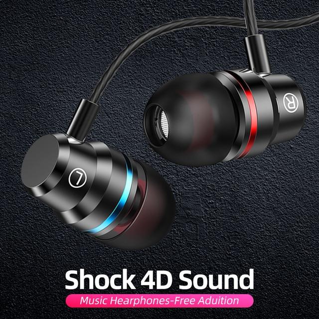 ANMONE auriculares intrauditivos con cable, dispositivo deportivo de 3,5mm con micrófono y estéreo de graves para iphone 7, 11 pro y xiaomi