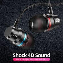 Anmone com fio fones de ouvido 3.5mm no ouvido fone esporte com microfone baixo estéreo para iphone 7 11 pro xiaomi
