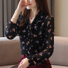 Women Chiffon Long sleeve Floral Autumn New Blouses Shirt Bow Collar Print Office Blouse Mujer de moda 937i7