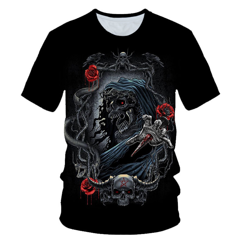 Skull Ghost Flame T-shirt Men Rose T-shirts 3d Tshirts Casual Metal Shirt Print Beauty Rock Cool 3D Anime Clothes Cool Tops