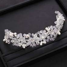 Trendy Wedding Hair Accessories Flower Rhinestone Crystal Headband Wedding Tiara Bridal Hair Jewellery Princess Tiara Headband trendy bridal tiara handmade silver color rhinestone crystal headband wedding hair accessories princess tiara hair jewellery