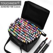 Touchnew marcadores caneta 30 60 80 168 cores esboço twin marcador canetas amplo ponto fino gráfico mangá anime markersart suprimentos