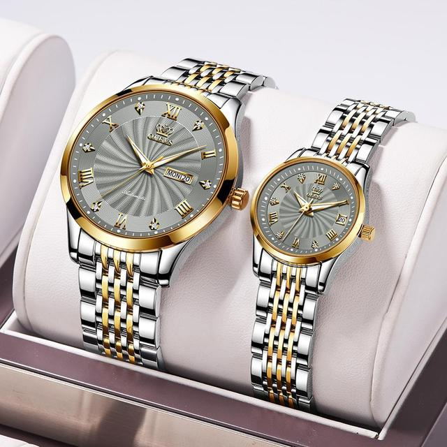 Couple automatic mechanical wristwatch Men and Women's business casual style watch with calender waterproof luminous brand clock