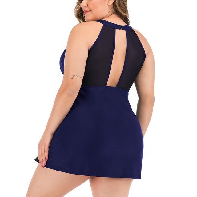 Riseado 2020 Plus Size Swimwear Women Sexy Mesh Swimsuit Two Piece Solid Bikini Ruched Beachwaer Black Backless Swimdress 3XL 3